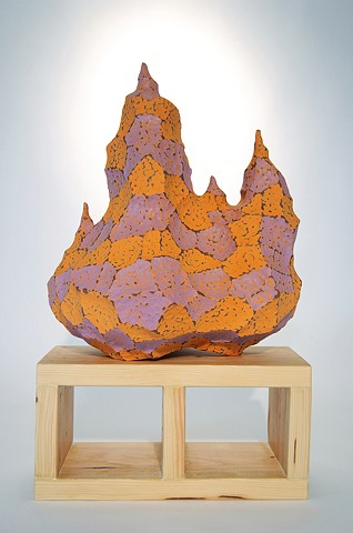 ceramic, clay, sculpture, contemporary landscape, pixels, stratification, cinder block