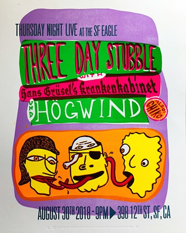 HogWind/Three Day Stubble show flyer