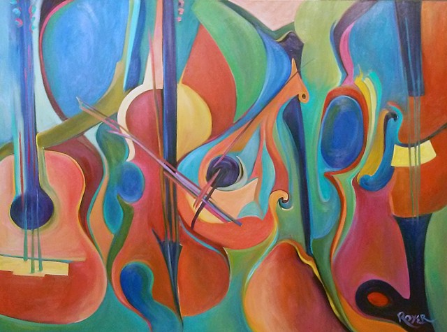 Lute, Guitar and Violins in Spring Palette