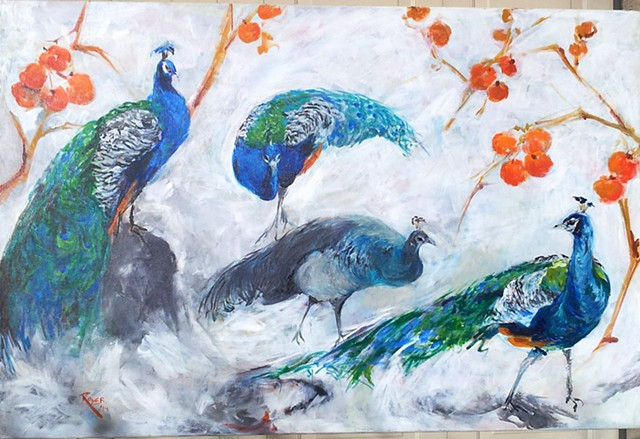 Peacocks and Persimmons in the Snow