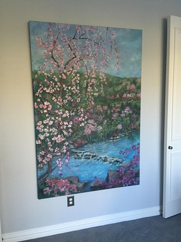 Weeping Cherry Blossom over Stream, Commissioned painting, 6' x 4'