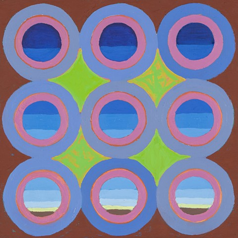 contemporary art, fine art, abstract painting, circles, skyscape