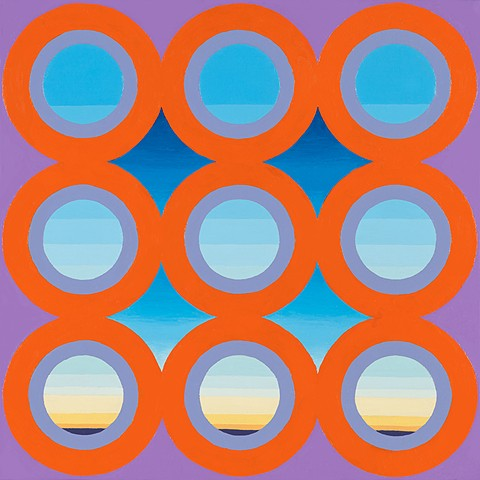 justin lodge, contemporary painting, circles, sky, painting, red, oregon, corvallis