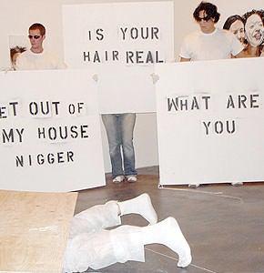 Michael Dixon self-portrait, racial identity, bi-racial art, performance art