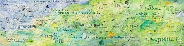 I use the imagery of a map, to explore my inscape, or internal landscape of time, place, and spirituality. I explore thoughts about my concerns about the environment, my small place in the universe, and the fleetingness of each moment.
