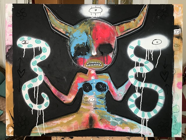 crude things, outsider art, abstract snake painting, kunst art, dark art, occult art, demon painting,