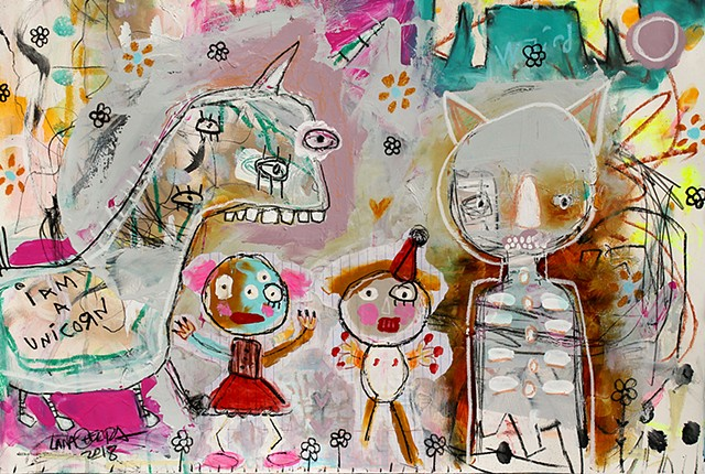 crude things outsider art, abstract animal art, unicorn painting, art brut