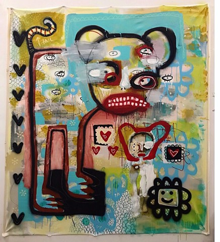 crude things, outsider art, graffiti style, lana guerra, abstract art, art brut, childlike art, abstract painting