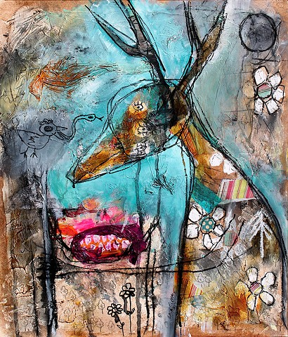 crude things outsider art, abstract deer painting, art brut
