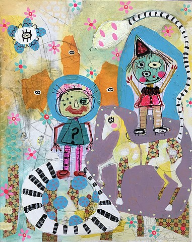 crude things outsider art, childlike art, abstract circus painting