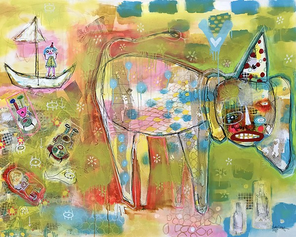 crude things outsider art, abstract elephant painting,