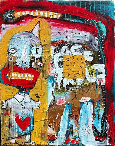 crude things, lana guerra, outsider art, circus clown painting, art brut, abstract art, kunst art