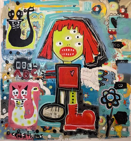 crude things, lana guerra, outsider art, art brut, graffiti style, abstract painting