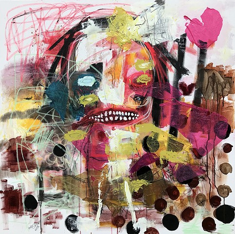 crude thingsoutsider art, abstract portrait painting, expressionism