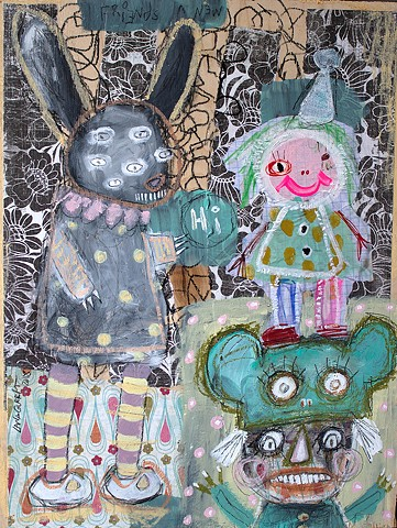 crude things outsider art, childlike art, abstract painting, art brut bunny rabbit