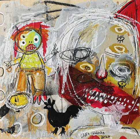 dark art, lana guerra, crude things, outsider art, art brut, abstract art, childlike art, new orleans art, nola art, expressionism, kust art