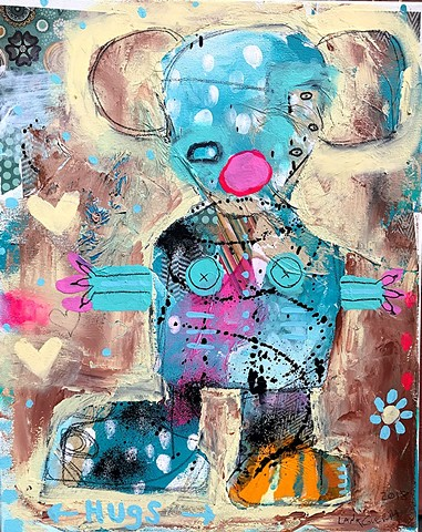 crude things outsider art. art brut mouse painting. abstract painting