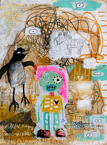 crude things outsider art. childlike art, abstract penguin painting, art brut