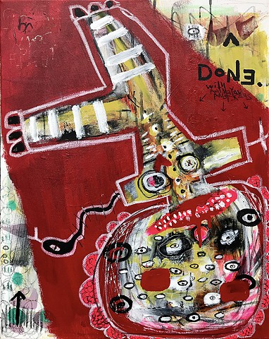 crude things outsider art, abstract painting, art brut, snake arms