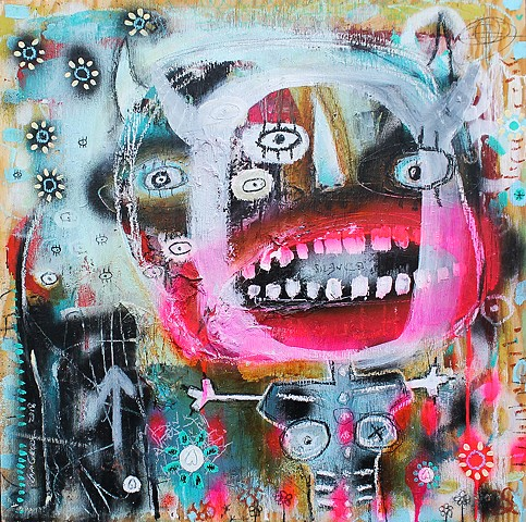 crude things outsider art, abstract art, art brut demon painting