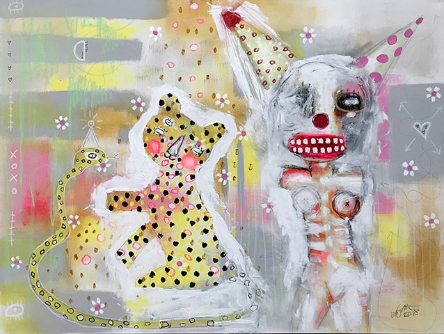 crude things outsider art, abstract leopard cat painting, circus clown art