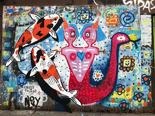 mural, graffiti, lana guerra, street art, jeremy novy, crude things, outsider art, art brut, abstract art, childlike art, new orleans art, nola art, expressionism, kust art