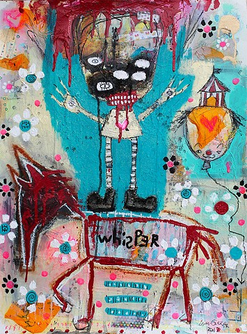crude things outsider art. raw art. abstract circus clown painting. expressionism