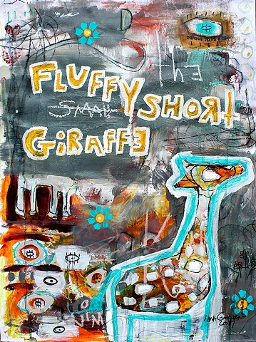 crude things animal art, abstract giraffe painting. art brut