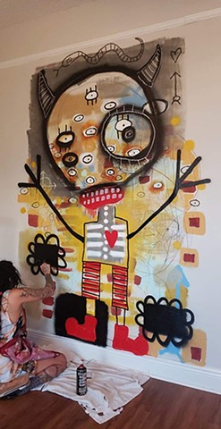mural, graffiti, lana guerra, crude things, outsider art, art brut, abstract art, childlike art, new orleans art, nola art, expressionism, kust art