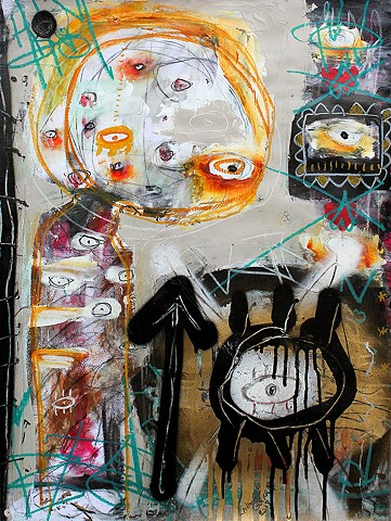 crude things outsider art, lana guerra, art brut, abstract painting, expressionism, dark art