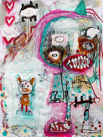 crude things outsider art. lana guerra, abstract self portrait, art brut, dark art