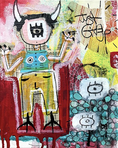 crude things outsider art, abstract devil painting, art brut