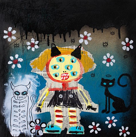 crude things lowbrow art, abstract cat paintings, childlike art