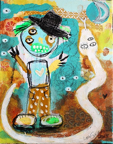 crude things outsider art, abstract snake paingint, art brut, childlike art
