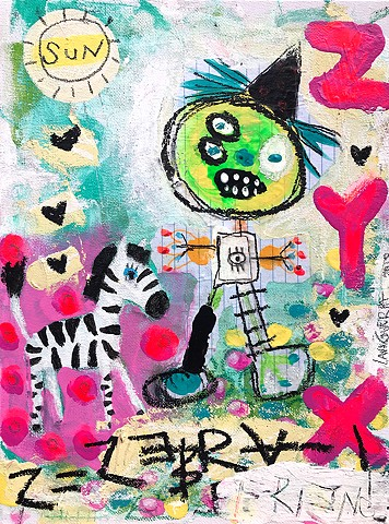 crude things outsider art. childlike art, abstract zebra painting