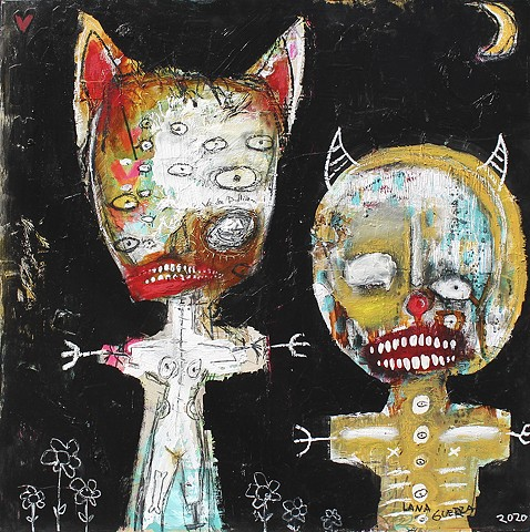 dark art, lana guerra, crude things, outsider art, art brut, abstract art, black painting, new orleans art, nola art, expressionism, kust art