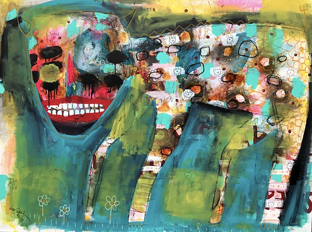 crude things outsider art, lana guerra, abstract animal painting, art brut