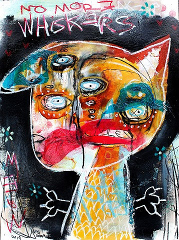 crude things, outsider art, abstract cat painting, surrealism, expressionism, art brut, kunst art