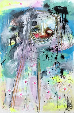 crude things outsider art, expressionism painting. absract sad girl. social anxiety art