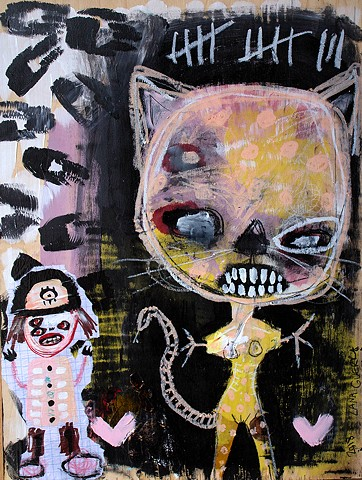 crude things outsider art, childlike art, abstrat cat painting