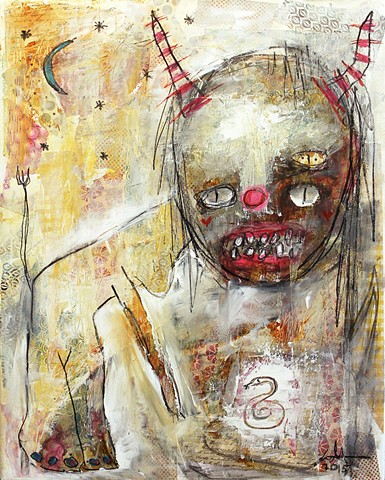horrow expressionist demon devil woman raw dark art. Expressionism