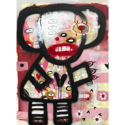 crude things, abstract bear painting, graffiti style, outsider art, art brut