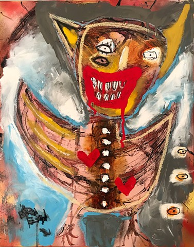 crude things, abstract bat painting, outsider art, eshu, art brut, kunst painting