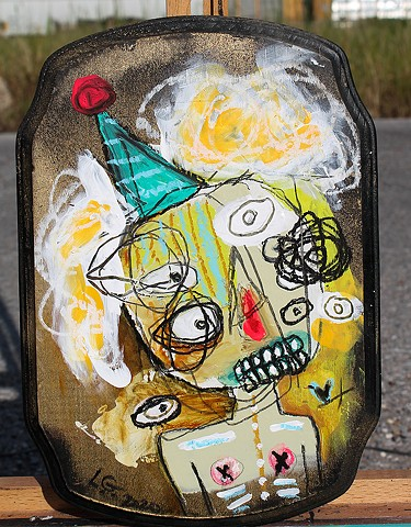 clown portrait, graffiti, lana guerra, crude things, outsider art, art brut, abstract art, childlike art, new orleans art, nola art, expressionism, kust art