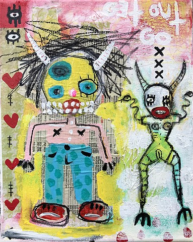 crude things outsider art, devil art, abstract painting, art brut