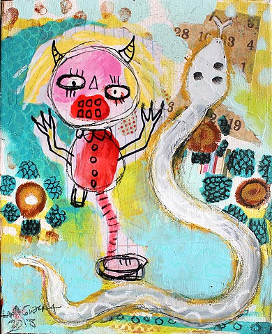 crude things outsider art, abstract snake painting, art brut,childlike art