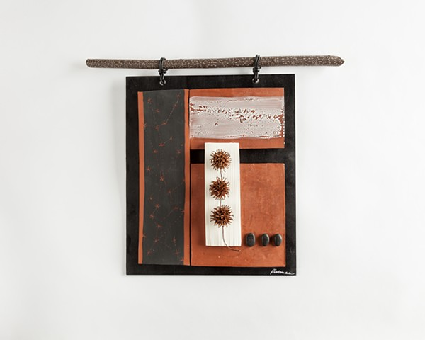 ceramic, clay, sculpture, wall hanging, art, terracotta, clay, natural objects, nature, by Carol Rissman