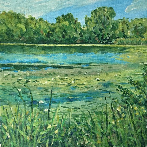 A plein air painting of small Round Lake by Phelan Park in St Paul.