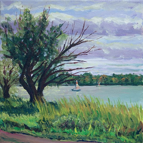 A plein air painting of Lake Nokomis from the east side and beginning of fall color.