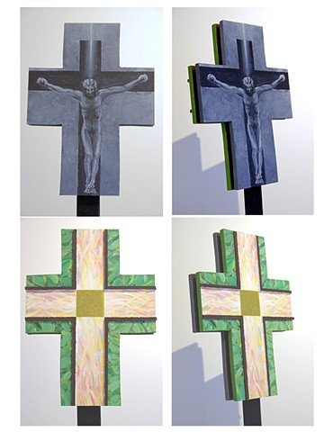 A Christian processional cross for Good Friday and Lent and Easter and Ordinary Time